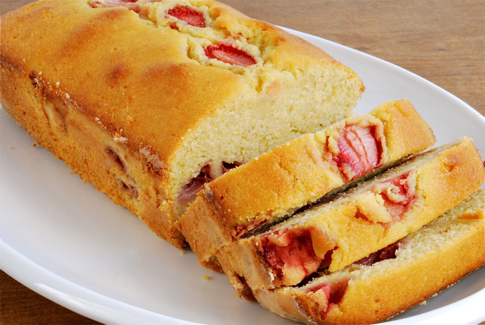 strawberry polenta pound cake