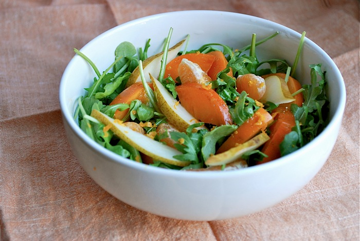 persimmon, pear, tangerine salad