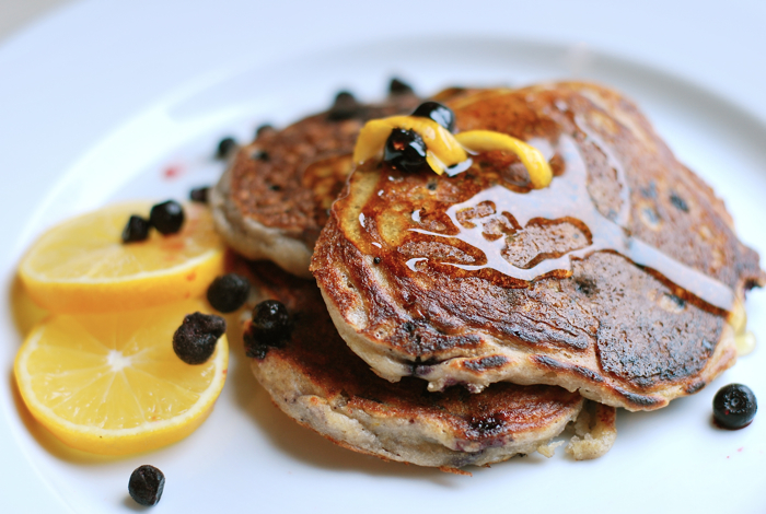 Meyer lemon blueberry pancakes