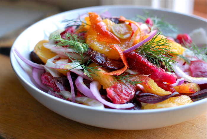 blood orange, fennel, and beet salad