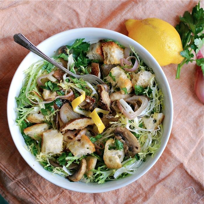 frisee mushroom salad