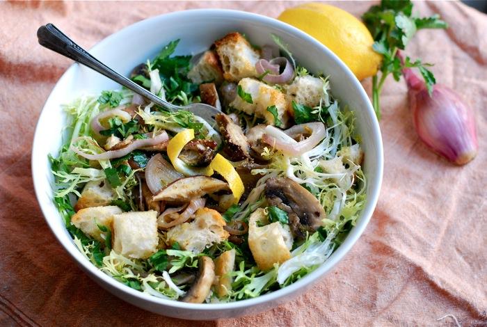 frisee and mushroom salad