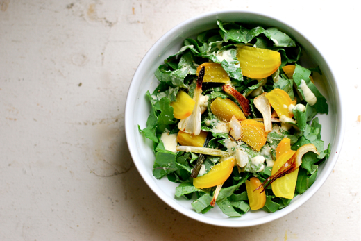 Kale Salad with Golden Beets, Green Garlic, and a Lime Vinaigrette