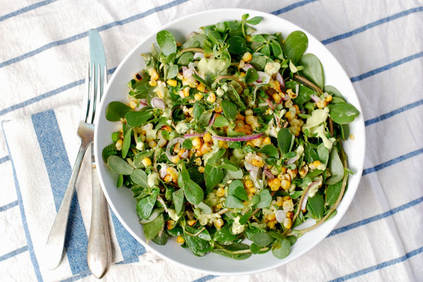 Purslane and grilled corn salad via brooklynsupper.net; Image ©Brooklyn Supper, all rights reserved