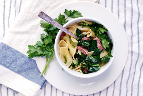 ham hock and collard soup with egg noodles // brooklyn supper