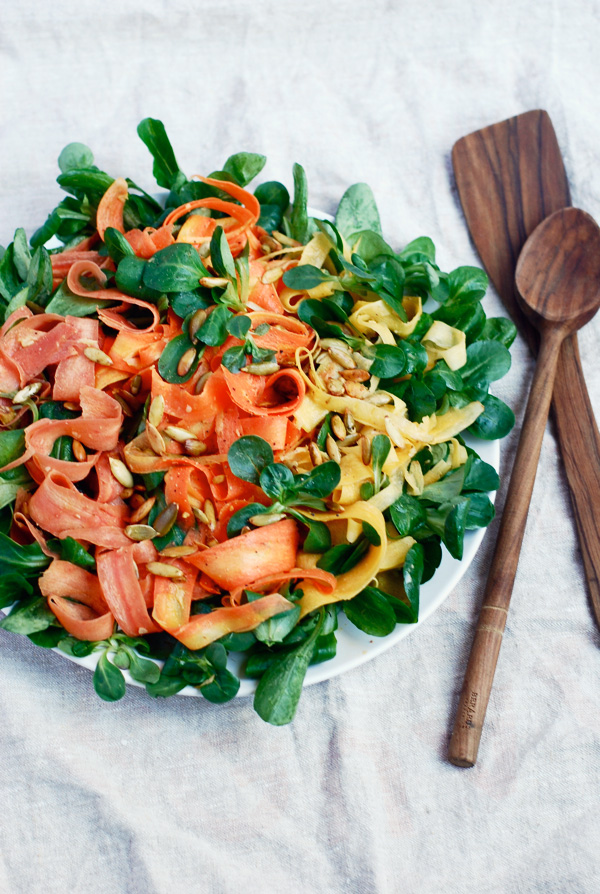 rainbow carrot salad with mâche  toasted pepitas brooklyn supper