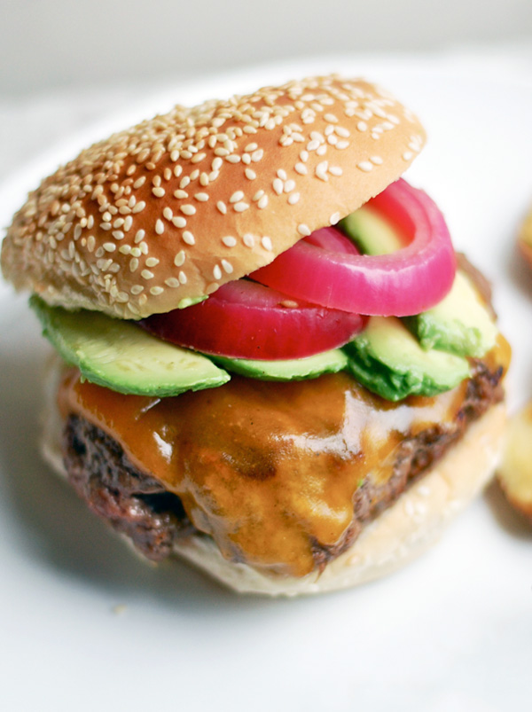 cheeseburgers with quick-pickled onions & avocado // brooklyn supper