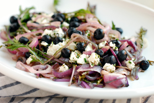 mizuna with blueberries & herbed feta // brooklyn supper
