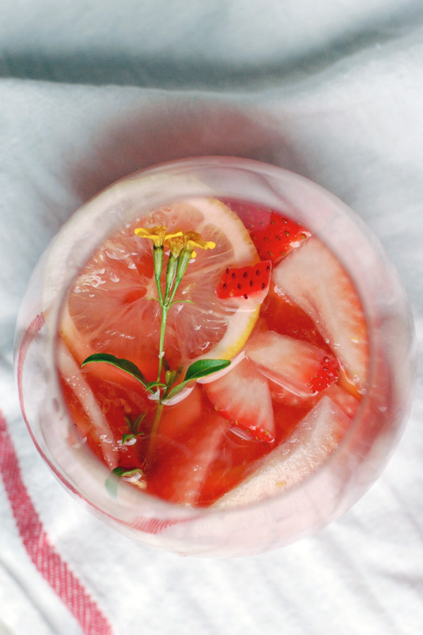 sparkling strawberry rosé sangria + five years // brooklyn supper