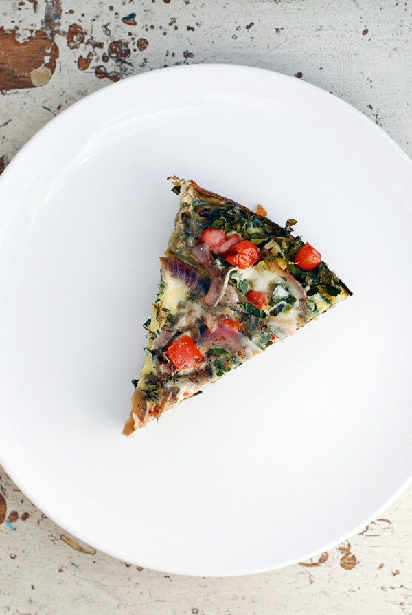 roasted red potato, kale and tomato frittata // brooklyn supper