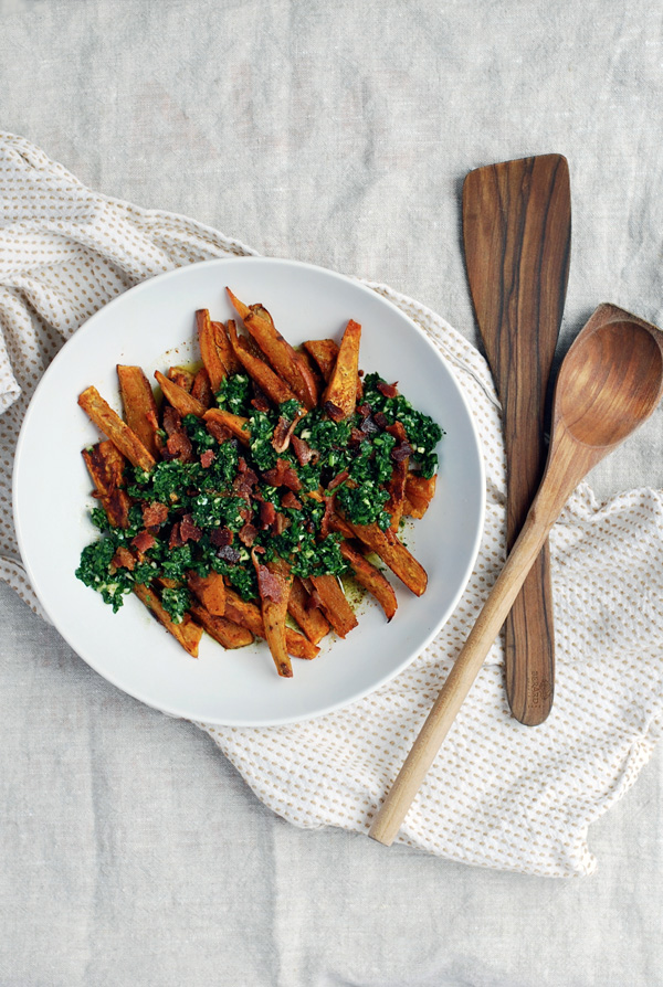 roasted sweet potato wedges with chimichurri and bacon // brooklyn supper