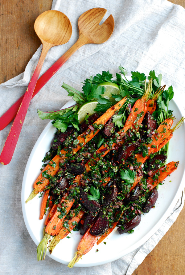roasted beet and carrot salad with beet green salsa verde // brooklyn supper