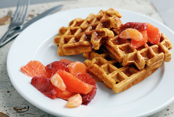 Cornmeal Sweet Potato Waffles