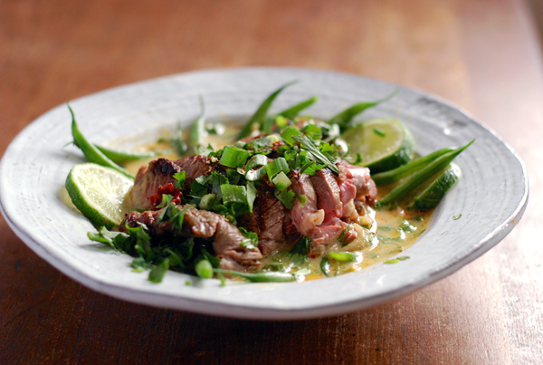 grilled lamb with haricot vert and coconut milk broth // brooklyn supper