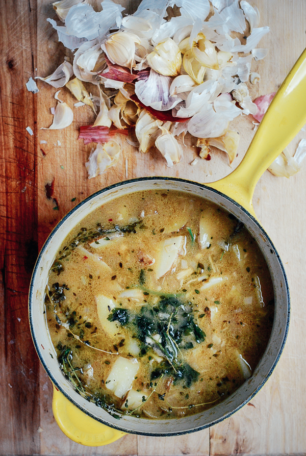 Roasted Garlic Soup with Potatoes, Shallots, and Fresh Herbs