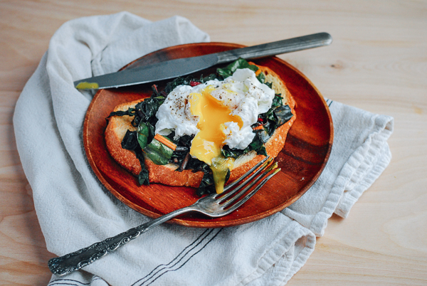 poached eggs and rainbow chard on sourdough toast // brooklyn supper
