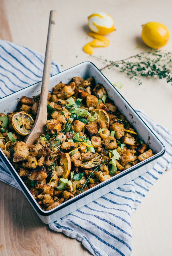 celery root stuffing with roasted meyer lemons // brooklyn supper