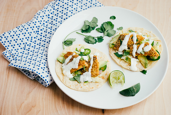 cornmeal-crusted fish tacos with lime crema // brooklyn supper