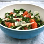 kale salad with grapefruit and pomegranate seeds