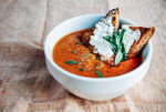 An effortless, warming roasted tomato soup made with fresh tomatoes and tarragon.