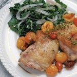 roasted chicken with collards and tomatoes
