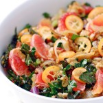 on happiness + farro salad with blood orange, kumquat & kale