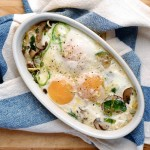 smaller things + baked eggs with brussels sprouts & mushrooms