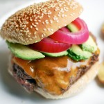 cheeseburgers with quick-pickled onions & avocado