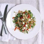 farro with beet greens & sun-dried tomatoes