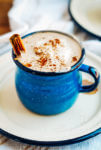 Cozy up to a mug of spicy maple cinnamon hot chocolate, made from scratch!