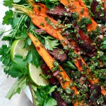roasted beet and carrot salad with beet green salsa verde + csa sign-ups