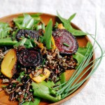 wild rice salad with dandelion greens