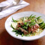 grilled lamb with haricot vert and coconut milk broth
