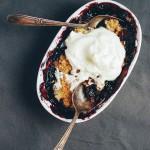 blackberry blueberry crisp with vanilla bean whipped cream