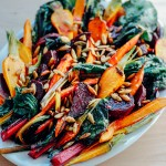 roasted vegetable salad with garlic dressing and toasted pepitas {a guest post for with food + love}