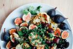 A roasted cauliflower salad recipe with fresh figs, Kalamata olives, and a bright chimichurri sauce.