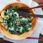 shaved brussels sprout, bacon, and meyer lemon salad + weekend links