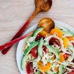 blood orange, avocado, and shaved fennel salad with saffron lemon dressing