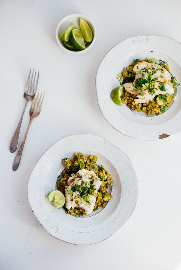 green rice with poached fish and herbed brown butter // brooklyn supper