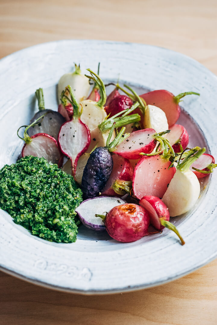 roasted radishes and turnips with pesto // brooklyn supper