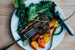 grilled steak salad with garlic scapes and peaches // brooklyn supper