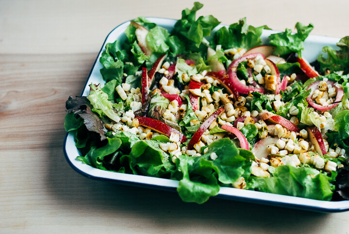charred corn salad with quick-pickled onions and lime dressing // brooklyn supper