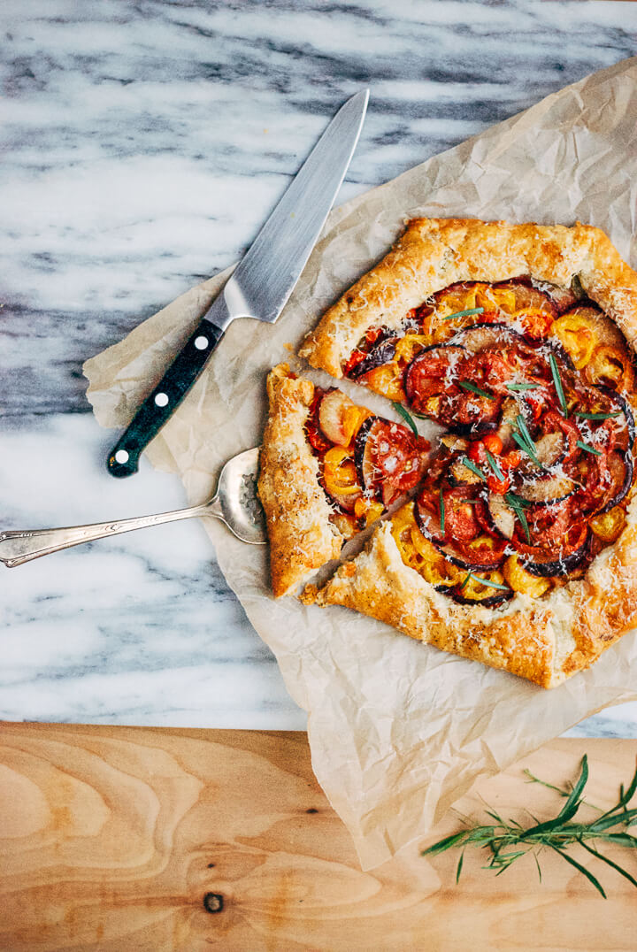 tomato and plum galette with black pepper parmesan crust // brooklyn supper