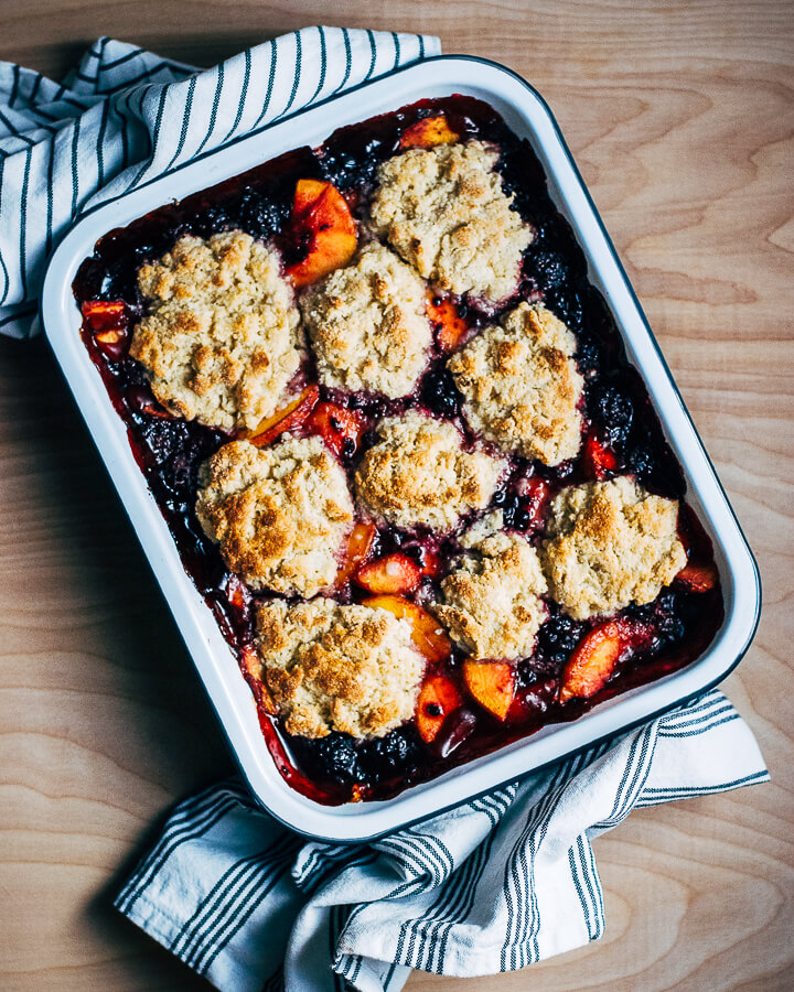 blackberry peach cobbler with buttermilk whipped cream // brooklyn supper