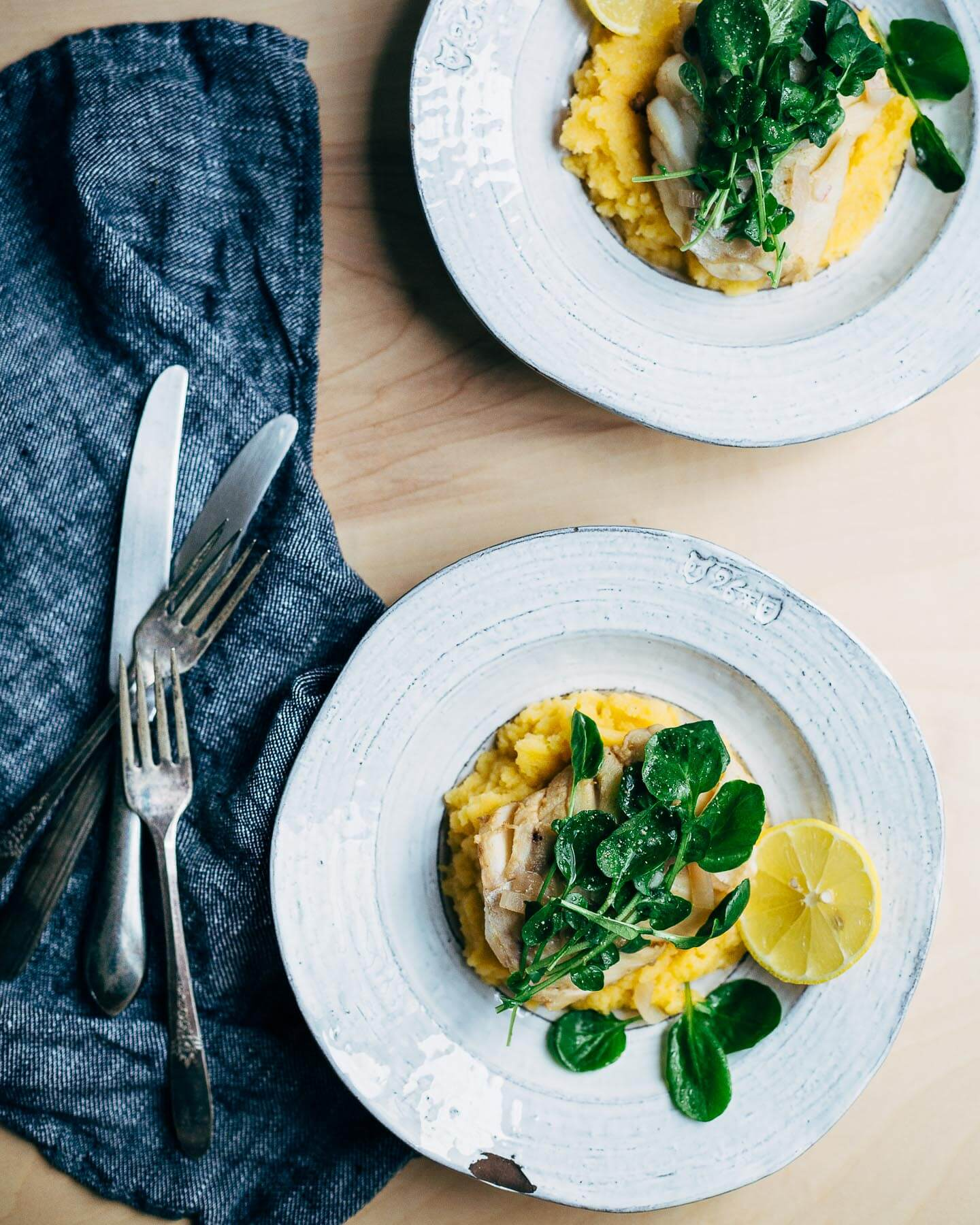 poached cod with rutabaga puree and watercress // brooklyn supper