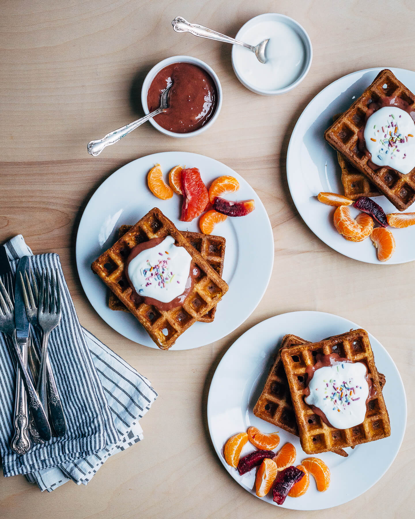 overnight waffles with blood orange curd // brooklyn supper