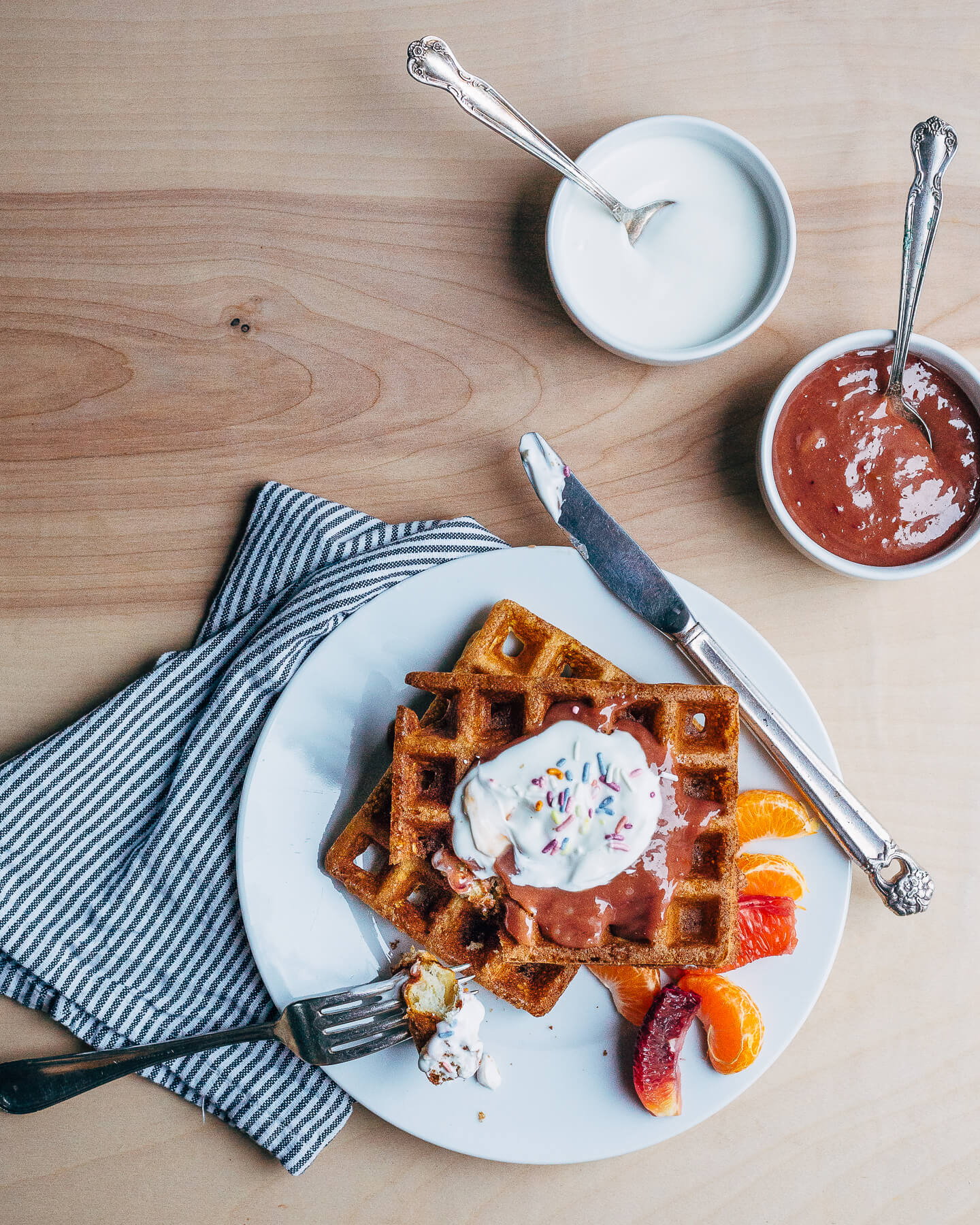 overnight yeasted waffles with blood orange curd