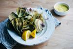 steamed artichokes with roasted garlic aioli // brooklyn supper