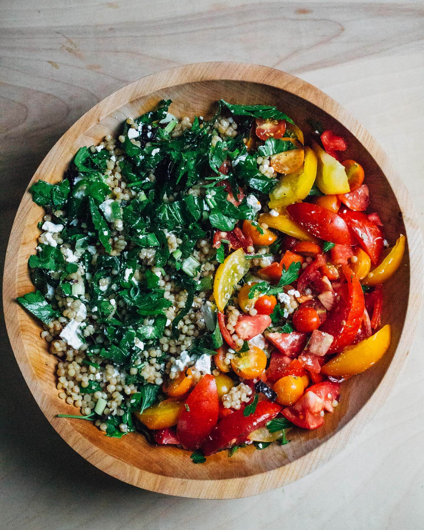 Toasted Pearl Couscous Salad With Tomatoes And Greens