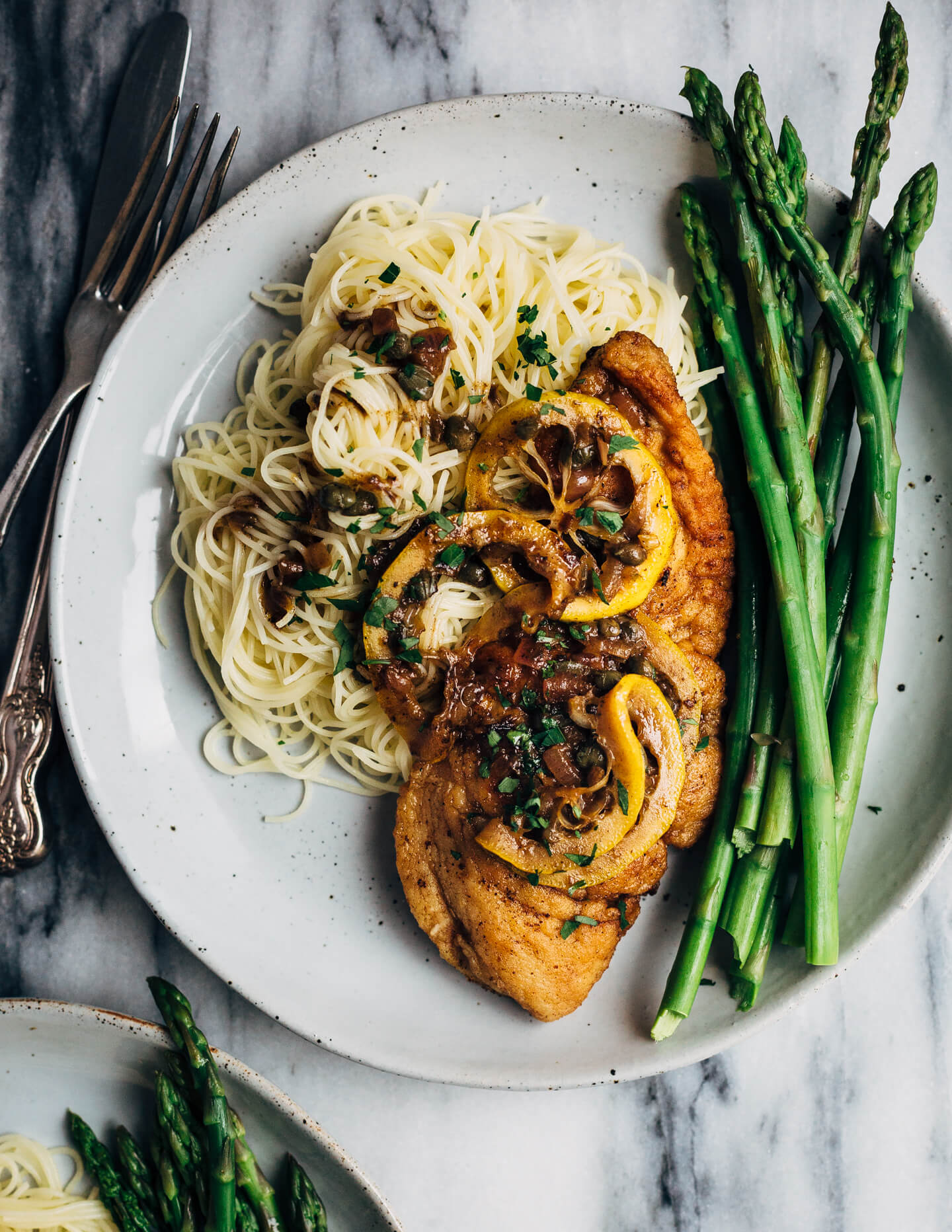 Chicken Piccata With Angel Hair Pasta And Asparagus